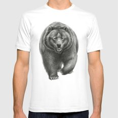 Brown Bear SK068 SMALL White Mens Fitted Tee