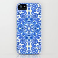 iPhone 5s & iPhone 5 Cases featuring Cobalt Blue & China White Folk Art Pattern by micklyn