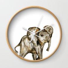 Baby Elephant Pink Wall Clock