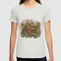 The Cottontail and the Katydid Womens Fitted Tee Silver SMALL