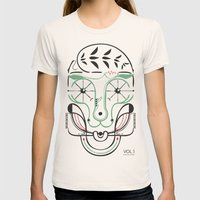 Happy Skull Womens Fitted Tee Natural SMALL