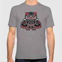 Owl, North-American art stylization Mens Fitted Tee Tri-Grey SMALL