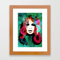 colorful hair Framed Art Print