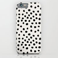 iPhone Cases featuring Preppy brushstroke free polka dots black and white spots dots dalmation animal spots design minimal by CharlotteWinter