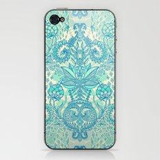 Botanical Geometry - nature pattern in blue, mint green & cream iPhone & iPod Skin