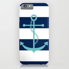 Aqua Anchor Shape on Wide Stripes Pattern Slim Case iPhone 6s