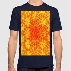 Fiery Halftone Flowers SMALL Mens Fitted Tee Navy