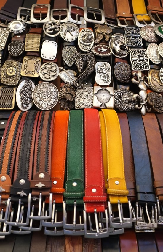 Italian leather belts, Florence market Art Print
