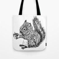 Squirrel In Black & Whit… Tote Bag
