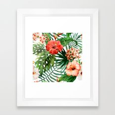 Hibiscus And Palm Leaf P… Framed Art Print