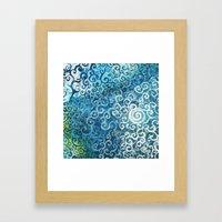 Swirly Deep Blue Sea Framed Art Print