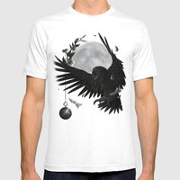 Solar Owls Moon  Mens Fitted Tee White SMALL