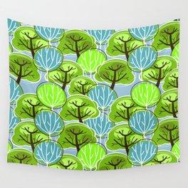 Wall Tapestry - Retro Trees, in blue and green - zeldashafferdesigns