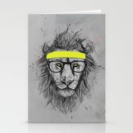 Stationery Cards featuring Hipster Lion by Balazs Solti