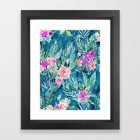 PARADISE FLORAL - NAVY Framed Art Print