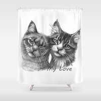 Cats in Love G134 Shower Curtain