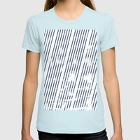 Grunge Blue stripes on white background illustration Womens Fitted Tee Light Blue SMALL
