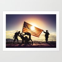 Soldiers Raising An Amer… Art Print