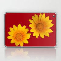 Two Yellow Flowers on Funky Red Background Laptop & iPad Skin