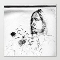 Thoughtful - Native American Indian Drawing  Canvas Print
