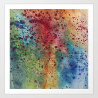 Rainbow Red Blue Speckles Art Print
