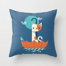 Umbrella Cat Throw Pillow