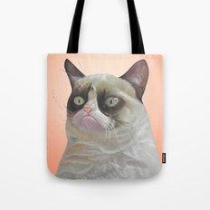 grumpy-cat-Orange Tote Bag