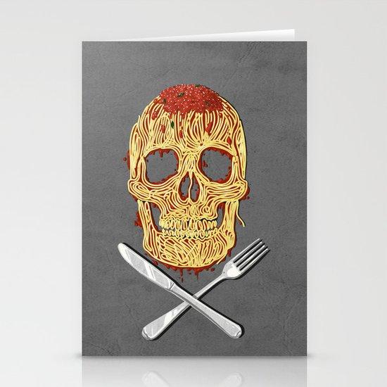 Spaghetti Skull Stationery Card