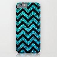 Chevron Aqua Sparkle iPhone 6 Slim Case