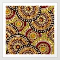 Multicolored Rowed Mandela Pattern Art Print