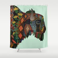 bison mint Shower Curtain
