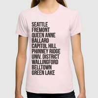 SEATTLE CITIES Womens Fitted Tee Light Pink SMALL