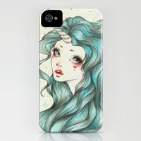 iPhone 4s & iPhone 4 Cases featuring Unicorn Girl by Sabrina Eras