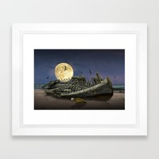 Moon and Wooden Shipwreck with Gulls Framed Art Print