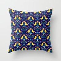 Folk Birds Blue Throw Pillow