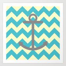 Chevron Anchor Art Print