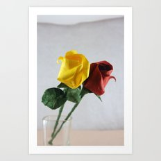Origami Yellow and Red Roses Art Print