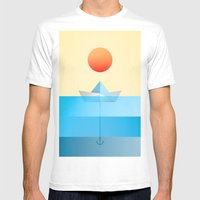 Paper Boat Mens Fitted Tee White SMALL