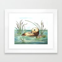 Otter On A Laptop Framed Art Print
