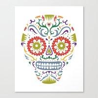 Sugar Skull SF multi 2 - on white Canvas Print