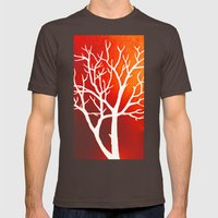 BLAZING TREES Mens Fitted Tee Brown SMALL