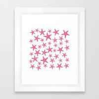 Summer pink neon watercolor gold starfish pattern Framed Art Print