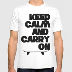 Keep Calm and Carry On SMALL White Mens Fitted Tee