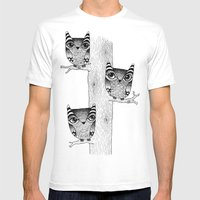 Owls (blue) Mens Fitted Tee White SMALL