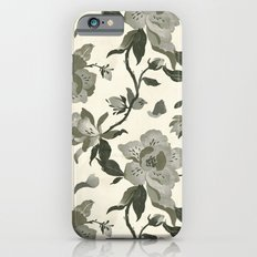 Black Magnolia Pattern iPhone 6 Slim Case