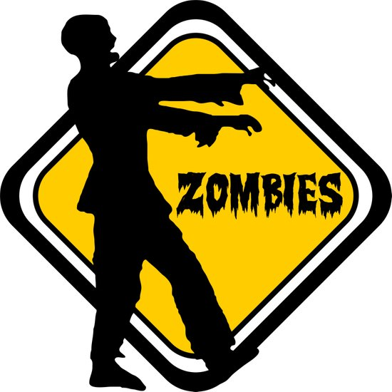 Caution Zombies Art Print
