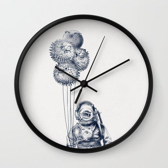 Balloon Fish - monochrome option Wall Clock
