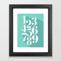 Flat Numbers Framed Art Print