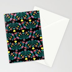 Folk Flowers Black Stationery Cards