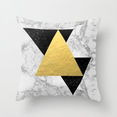 Marble Tri Black & Gold - gold foil, gold, marble, black and white, trendy, luxe, gold phone Throw Pillow